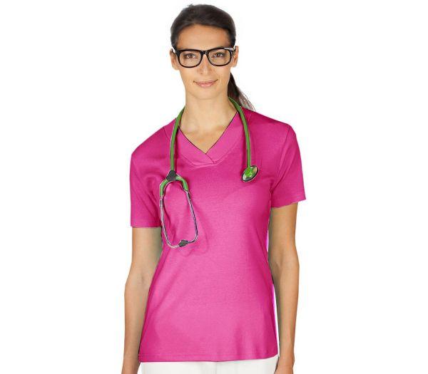 Damen T-Shirt V-Ausschnitt pink