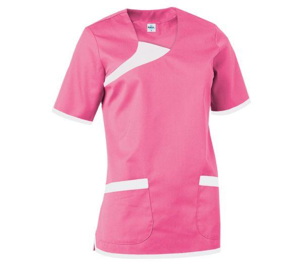 Damen Schlupfkasack Mischgewebe rosa/weiß