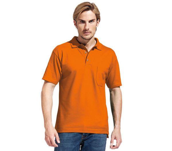 Poloshirt Premium mit Brusttasche orange