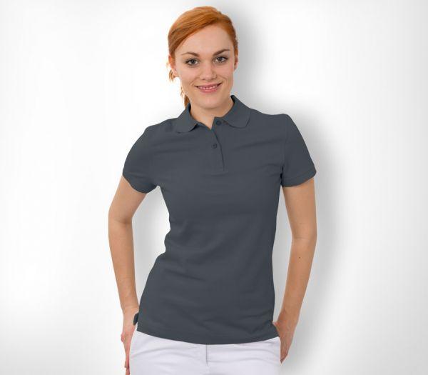 Damen Polo-Shirt Baumwolle anthrazit