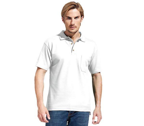 Poloshirt Premium mit Brusttasche weiß