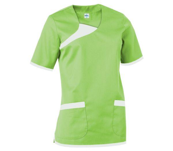 Damen Schlupfkasack Mischgewebe grün/weiß