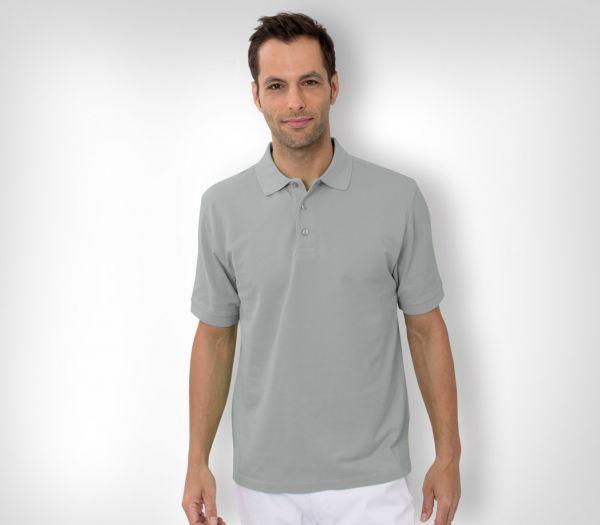 Herren Polo-Shirt Baumwolle silber